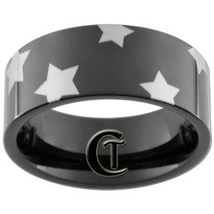 9mm Black Pipe Tungsten Carbide Wonder Woman Stars Ring Sizes 5-15