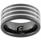 9mm Black Pipe Tungsten Carbide 3 Laser Lines Ring Sizes 5-15