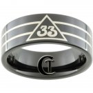 Tungsten Carbide 9mm 33 Degree Masonic Design Ring Sizes 5-15