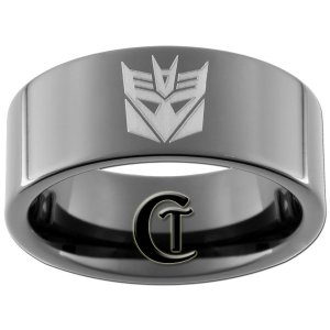 9mm Tungsten Carbide Pipe Decepticon Design Ring Sizes 5-15