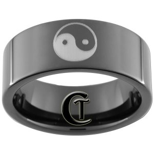 Tungsten Carbide 9mm Yin Yang Design Ring Sizes 5-15