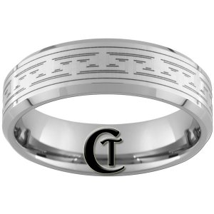 8mm Beveled Tungsten Carbide Custom Design Band Ring Sizes 4-17