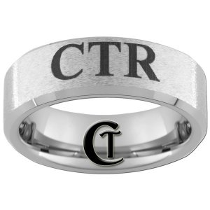 Tungsten Carbide 8mm Beveled Stone Finished Black CTR Design Ring Sizes 4-17