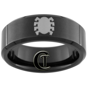 8mm Black Tungsten Carbide Band Beveled Spiderman Ring Sizes 5-15