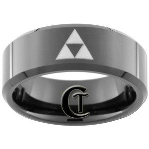 8mm Tungsten Carbide Beveled Legend of Zelda Triforce Design Ring Sizes 5-15