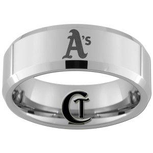 8mm Bevel Tungsten Carbide Laser A's Design Ring Sizes 4-17