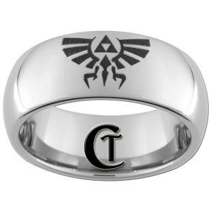 8mm Tungsten Carbide Legend of Zelda Skyward Sword Crest Laser Design Ring Sizes 4-17