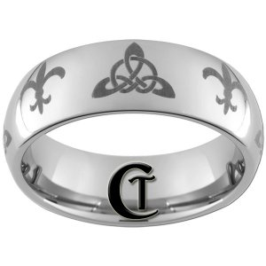 8mm Tungsten Carbide Domed Celtic Triangle Fleur De Lis Design Ring Sizes 4-17
