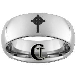 8mm Tungsten Carbide Cross Laser Design Ring Sizes 4-17