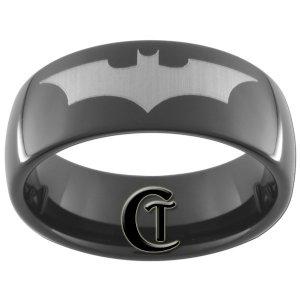 Tungsten Carbide 8mm Black Band Batman Design Ring Sizes 5-15