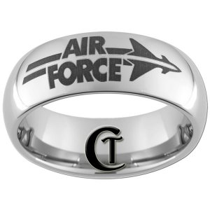 8mm Tungsten Carbide Domed Air Force Design Ring Sizes 4-17