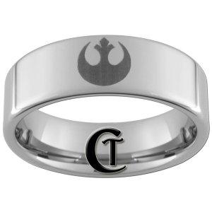 Tungsten Carbide 8mm Pipe Star Wars Rebel Alliance Design Ring Sizes 4-17