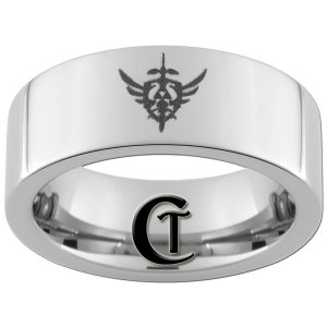 8mm Tungsten Carbide Legend of Zelda Laser Design Ring Sizes 4-17