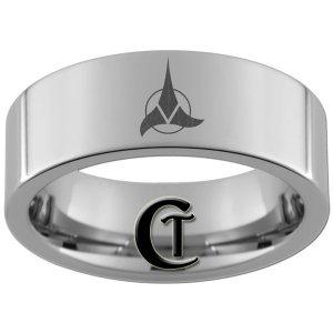 8mm Pipe Tungsten Carbide Klingon Black Laser Design Ring Sizes 4-17