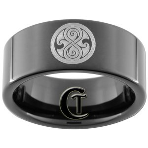 Tungsten Carbide 9mm Black Band Doctor Who Seal of Rassilon Design Ring Sizes 5-15