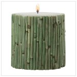 Bamboo-Wrapped Pillar Candle-31711