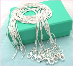 (Set of 5 Pcs) Gorgeous Silver Plate 1.2 mm Style Snake Chain 41cm.