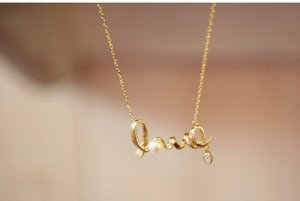 LOVE letter with Pearl Diamond gold silver necklace