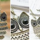 Golden Vintage Cute Owl With Big Eye Pendant Necklac