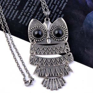 Silver Cute Owl With Big Eye Pendant Necklace