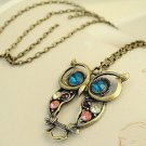 Lovely Multicolor Jewel Big Eyes Owl Pendant Long Necklace