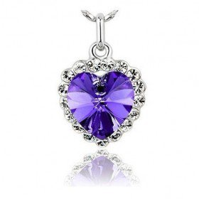 Platinum Plated Heart of The Ocean Titanic Style Purple Swarovski Crystal Necklace