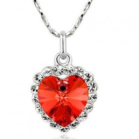 Platinum Plated Heart of The Ocean Titanic Style Red Swarovski Crystal Necklace