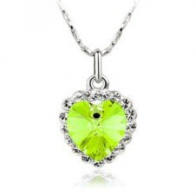 Platinum Plated Heart of The Ocean Titanic Style Green Crystal Necklace