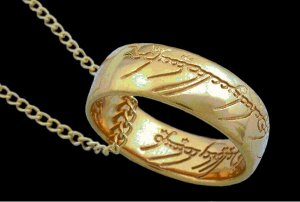 Lord Of The Rings -Frodo's Ring- Gold plated ring and necklace