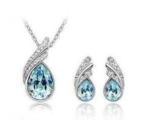 Swarovski Crystal 18K WGP Necklace/Earring Set