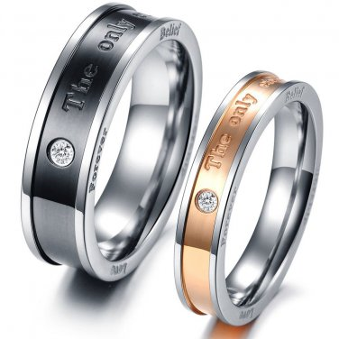 Pair of His & Her The Eternal Love Promise Crystal Rings