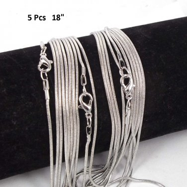 (5 Pcs Set) Gorgeous 1.2 mm Style Snake Chains 18""