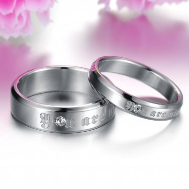 (2 pcs)His & Her You Are Mine/CZ Couple Rings Set
