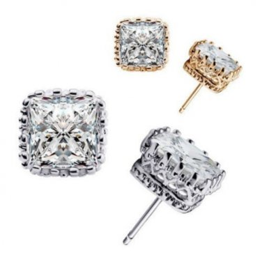 Platinum Plated Princess-Cut Square Crown Cubic Zirconia Stud Earring Set