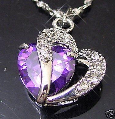 CZ WGP Love U Heart Purple Crystal Pendant Necklace