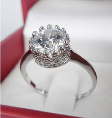 Dazzling 10KT Gold Filled Crystal Cz Crown Wedding Ring