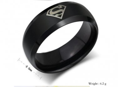 8mm Ring 316L Stainless Steel Superman Superhero Band Ring size 6-12