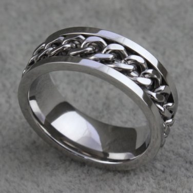 Classic 8mm Stainless Steel Curb Chain Spinner Ring Size 6-11