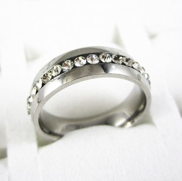 Eternity CZ Wedding Band 6mm 316L Stainless Steel Ring Size 6-11