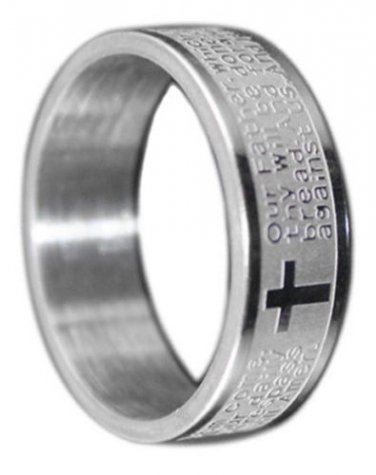 Stainless Steel Bible Lord's Prayer Cross Wedding Band 7mm Wide