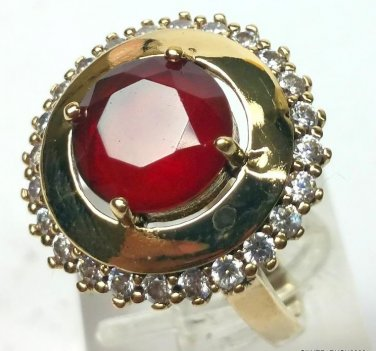925 Sterling SILVER RUBY White TOPAZ TURKISH Jewelry RING SIZE 8