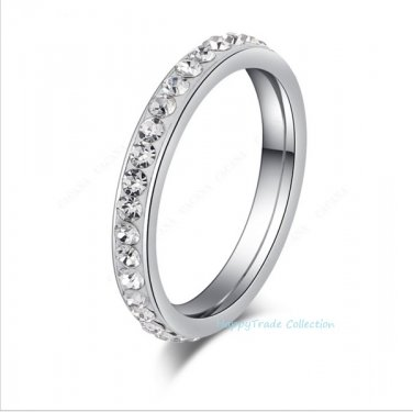 Eternity Small CZ Surround Wedding Band 316L Stainless Steel Ring Size 6-12