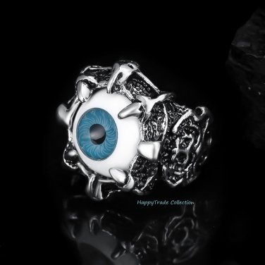 New Punk Vintage Dragon Claw Blue Evil Eye Skull Stainless Steel Biker Ring SZ 8-11
