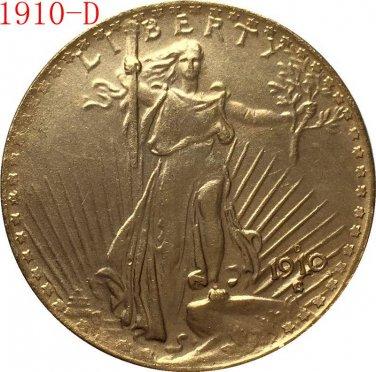 American Coin Treasures $20 Saint Gaudens Gold Piece 1910-D Replica coin