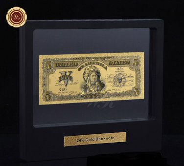 1899 Series $5 Chief One Papa Indian US Five Dollars 24k Gold Banknote COA