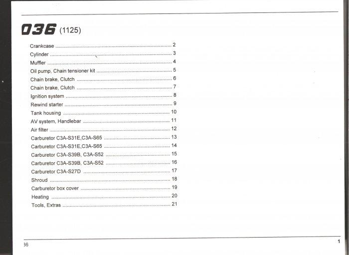 Chain Saw Parts List Stihl 036
