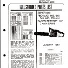 Chain Saw Parts List McCulloch 6000 Series