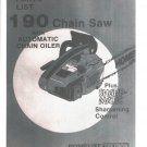 Chain Saw Parts List HOMELITE 190