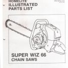Chain Saw Parts List Homelite Super WIZ 66