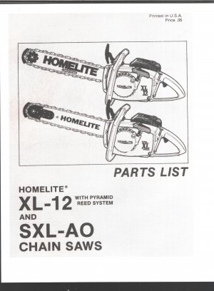 Chain Saw Parts List Homelite XL-122 and SXL-AO